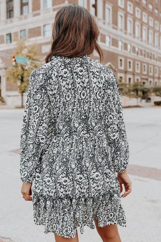 Button Down Printed Babydoll Dress - FINAL SALE