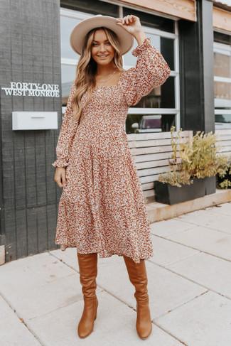 Square Neck Smocked Rust Floral Midi Dress