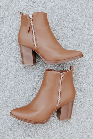 Making Headlines Faux Leather Camel Booties