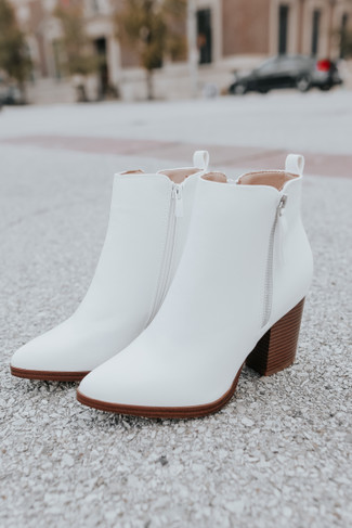 Making Headlines Faux Leather White Booties