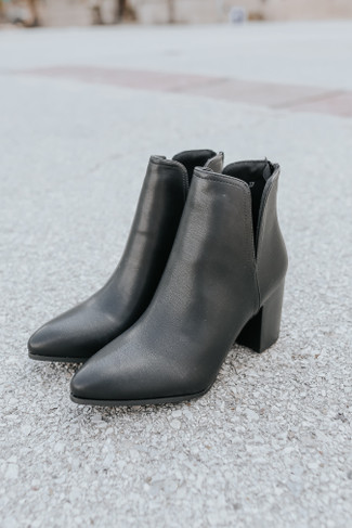 Simone Faux Leather Black Slit Booties