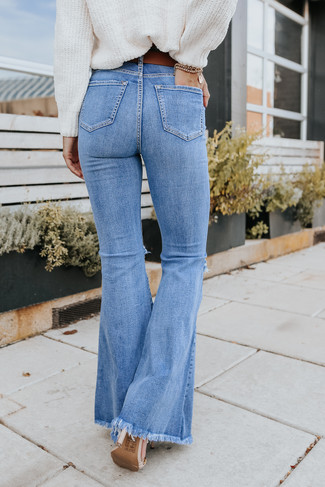 Halen Distressed Medium Wash Flare Jeans
