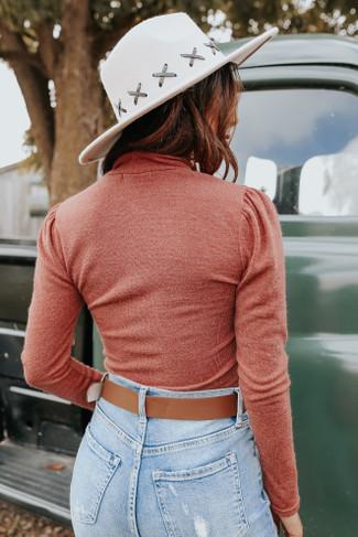 Mock Neck Puff Sleeve Rust Bodysuit