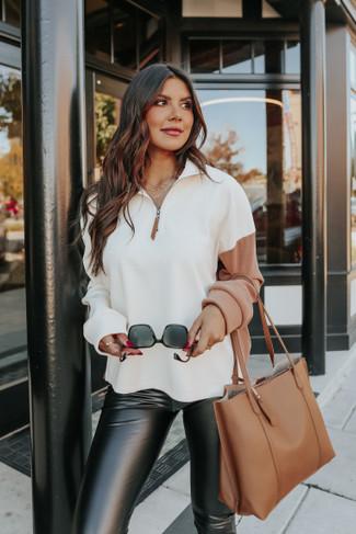 Contrast Half Zip Colorblock Pullover