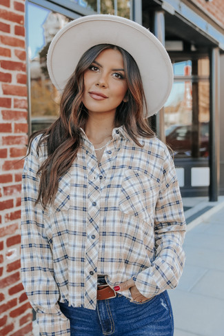 Button Down Taupe Frayed Plaid Shirt
