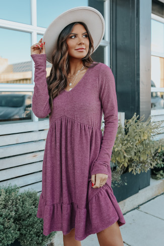 V-Neck Soft Brushed Purple Empire Dress