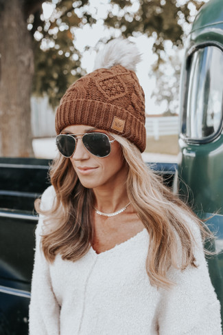Upstate Fleece Lined Cable Pom Beanie