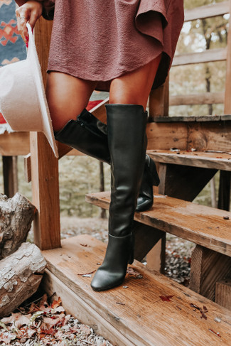 Streets of Soho Faux Leather Black Tall Boots