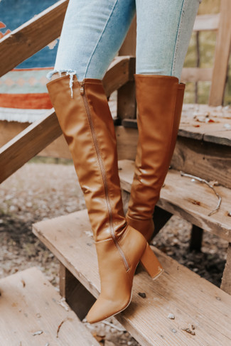 Streets of Soho Faux Leather Tan Tall Boots