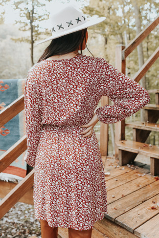 Fall Market Surplice Brick Floral Dress