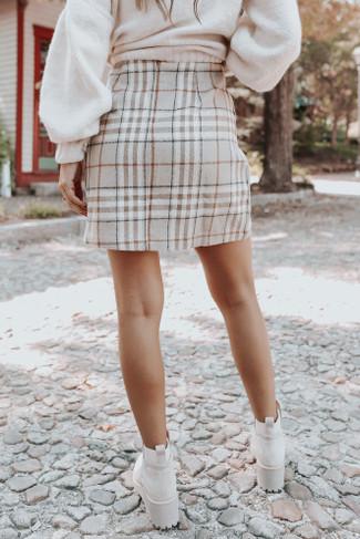 Campus Square Taupe Plaid Mini Skirt