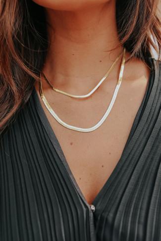 I Love the 80s Layered Gold Herringbone Necklace