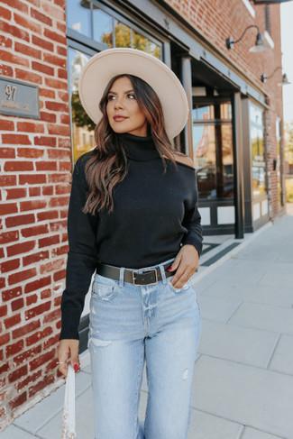 Turtleneck Cutout Black Sweater