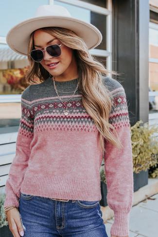 Harmony Trail Pink Fair Isle Sweater