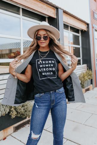 Strong Women Strong World Black Tee