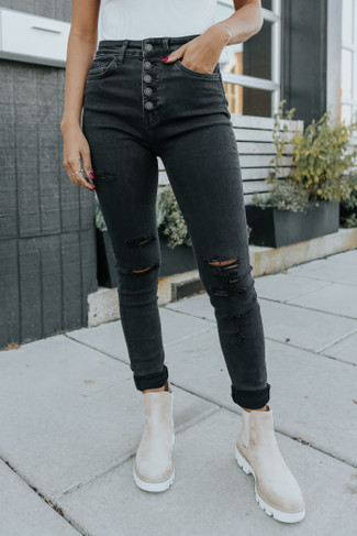 Scar 5-Button Black Distressed Skinny Jeans