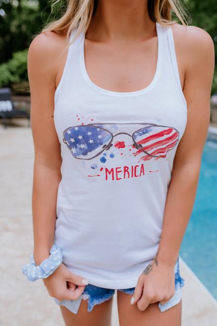 'Merica Sunglasses Tank - Off White- FINAL SALE