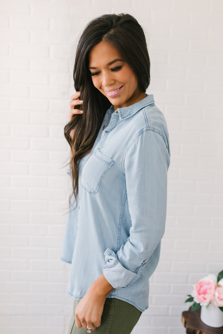 Button Down Light Wash Chambray Top
