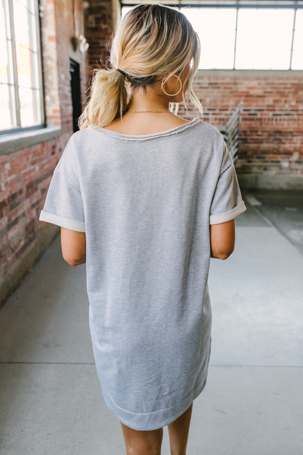 French Terry Zipper Detail Sweatshirt Dress - Heather Grey - FINAL SALE