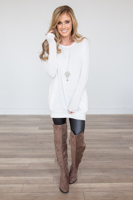 Cozy Knit Pocket Tunic - White