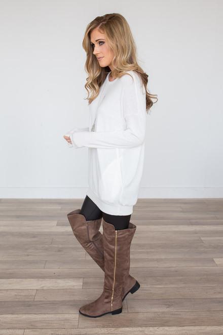 Cozy Knit Pocket Tunic - White - FINAL SALE