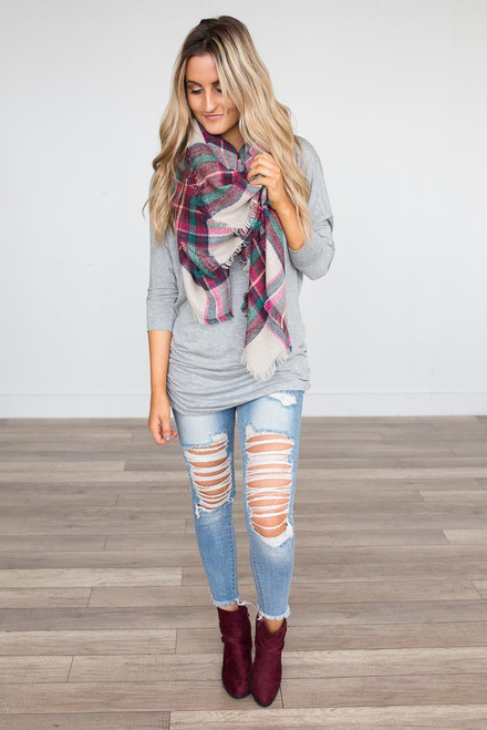 Signature Slouchy Dolman Top - Grey - FINAL SALE