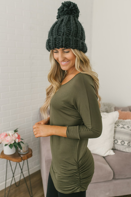 Signature Slouchy Dolman Top - Olive - FINAL SALE