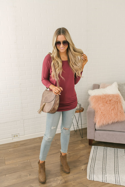 Signature Slouchy Dolman Top - Wine - FINAL SALE
