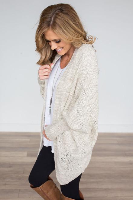 Dolman Cable Knit Cardigan - Ivory - FINAL SALE