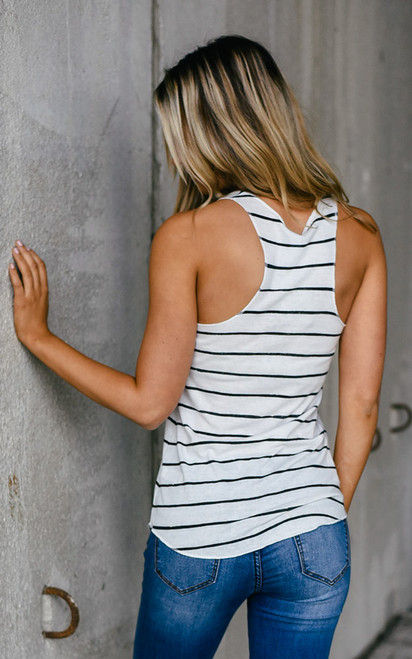Racerback Striped Tank - White/Black - FINAL SALE