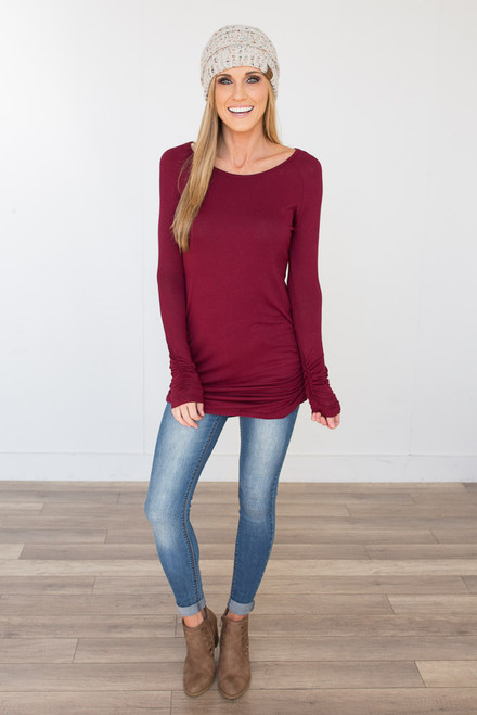 Long Sleeve Ruched Knit Tunic - Burgundy  - FINAL SALE