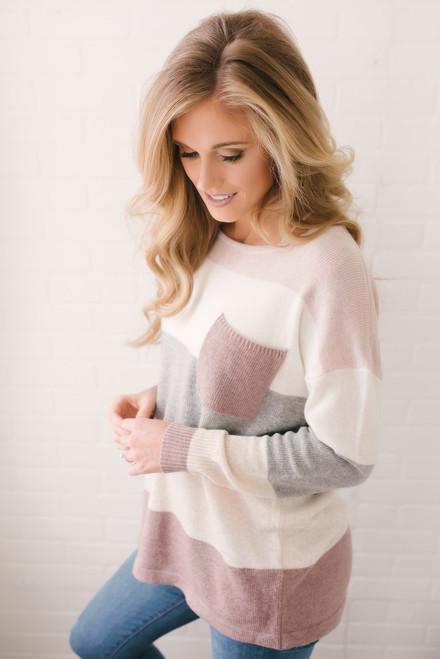 Arendelle Colorblock Pocket Sweater - Mauve Multi