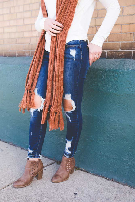 Ribbed Knit Tassel Scarf - Rust - FINAL SALE