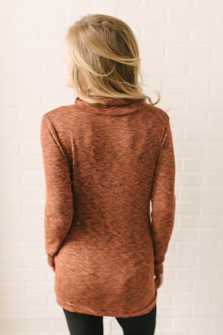 Cowl Neck Pocket Pullover - Heather Brick - FINAL SALE