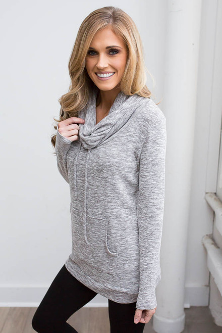 Cowl Neck Pocket Pullover - Heather Grey  - FINAL SALE
