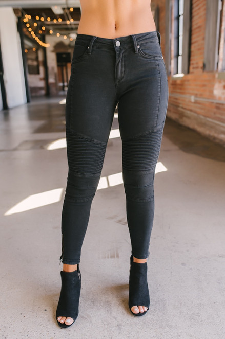 Verona Zipper Detail Moto Pants - Black - FINAL SALE