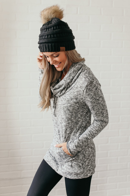 Cowl Neck Pocket Pullover - Heather Black