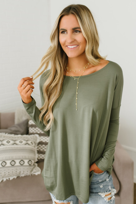 Solid Knit Piko - Olive  - FINAL SALE