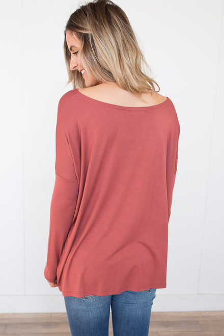 Solid Knit Piko - Brick - FINAL SALE