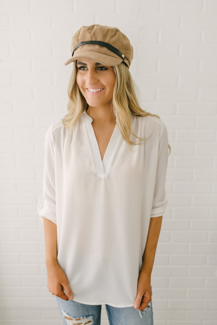 Steal My Sunshine V-Neck Top - Ivory - FINAL SALE