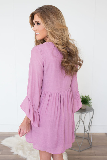 Crochet Detail Ruffle Sleeve Dress - Orchid