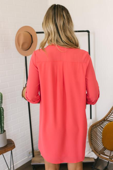 V-Neck Roll Tab Shift Dress - Coral