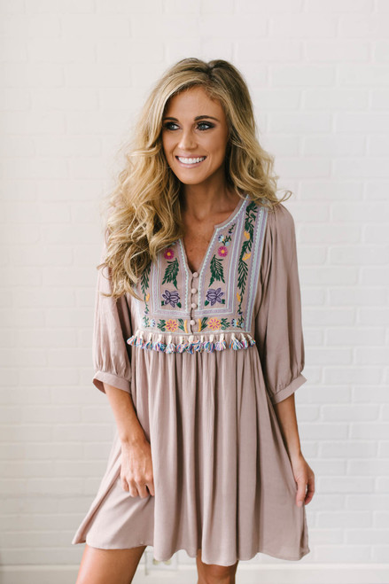 Beach House Tassel Embroidered Dress - Mocha