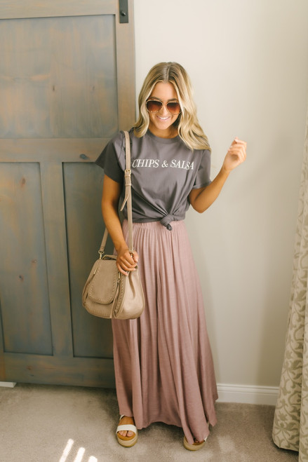 Napa Valley Maxi Skirt - Mauve (ETA  JUNE)
