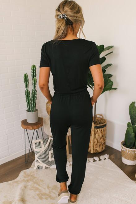 Short Sleeve Surplice Jumpsuit - Black - FINAL SALE