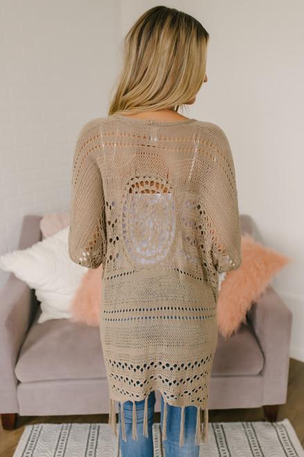 Short Sleeve Crochet Cardigan - Mocha (EXPECTED END OF JUNE)