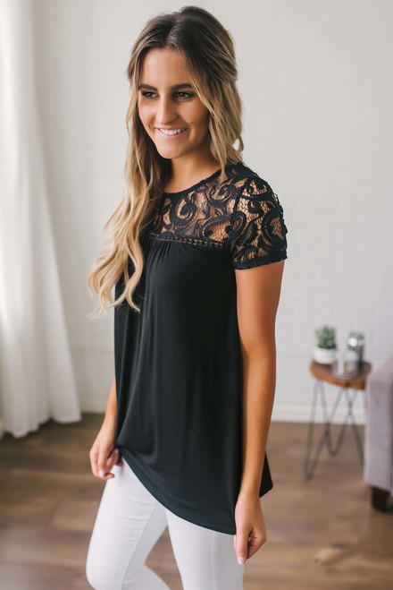 Sweet Caroline Crochet Detail Top - Black