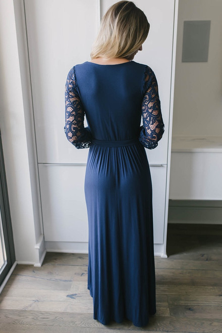 Faux Wrap Lace Sleeve Maxi Dress - Navy