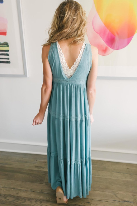 Lace Detail Tiered Maxi Dress - Dusty Teal - FINAL SALE