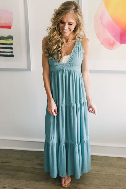 Lace Detail Tiered Maxi Dress - Dusty Teal